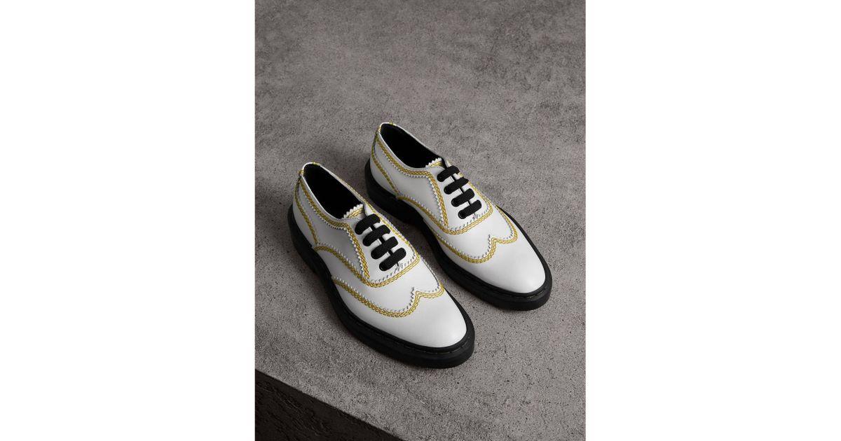 d48e69b9a Lyst - Burberry Topstitch Leather Lace-up Shoes for Men