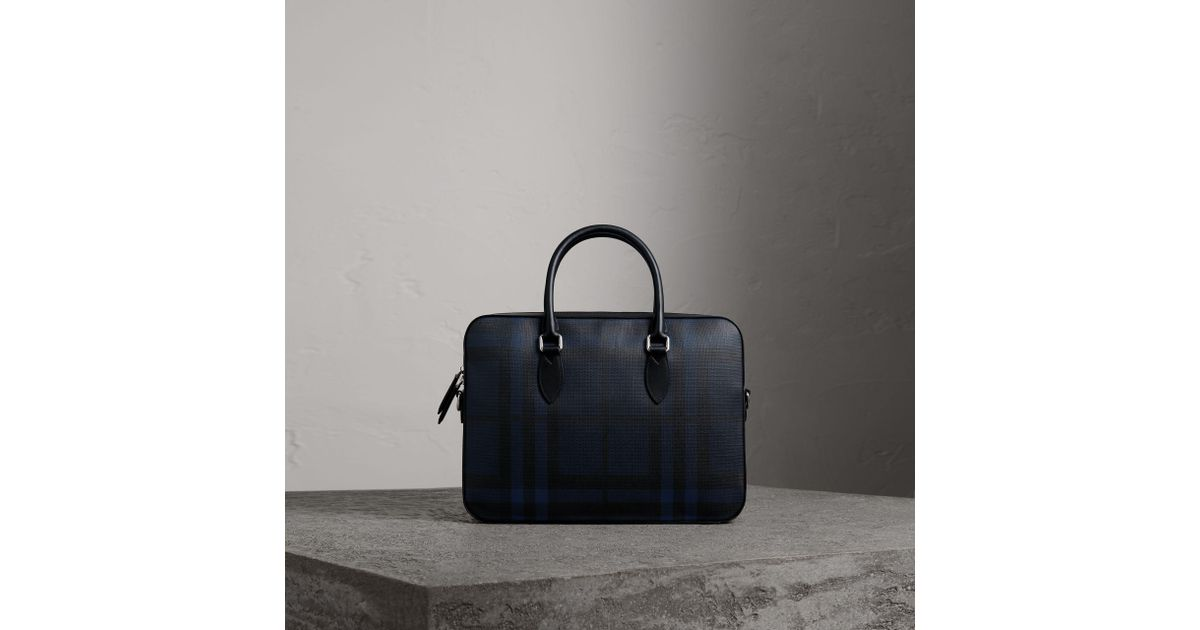 0ce70a67519a Lyst - Burberry Medium Leather Trim London Check Briefcase Navy black in  Blue for Men