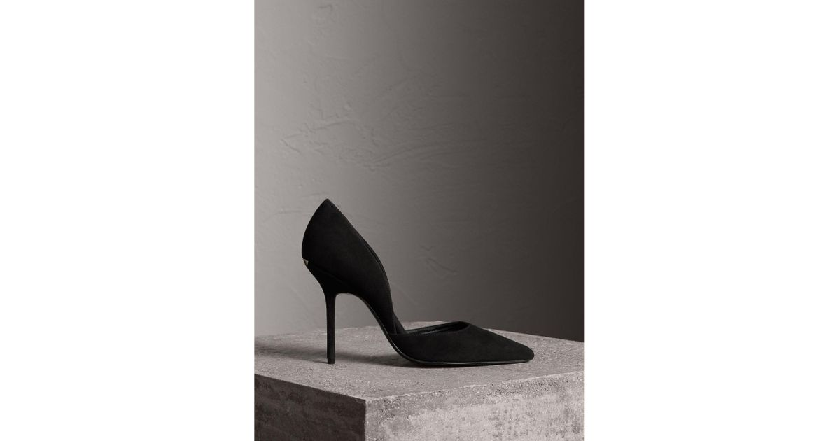 59ab72b6d3a Burberry Point-toe Suede D orsay Pumps Black in Black - Lyst