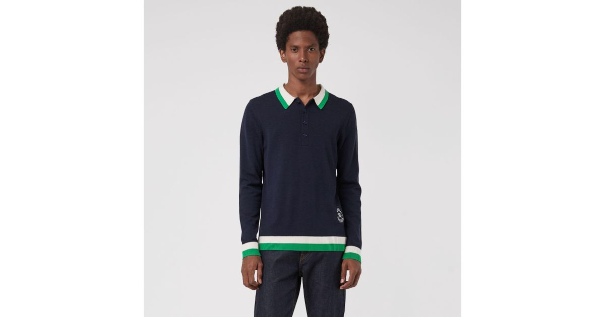 ffc5dd52 Burberry Stripe Detail Merino Wool Long-sleeve Polo Shirt in Blue for Men -  Lyst