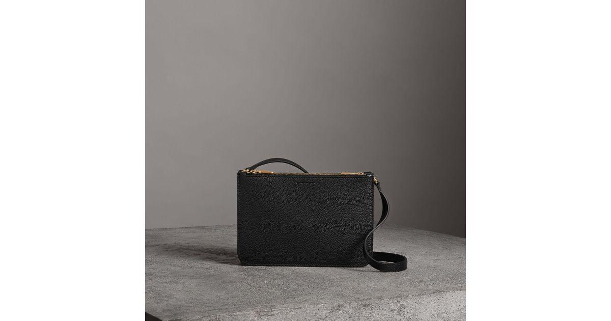 8b24a3210d Burberry - Black Triple Zip Grainy Leather Crossbody Bag - Lyst