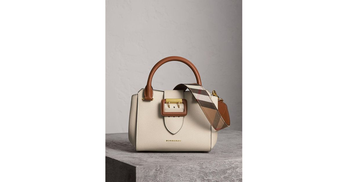abe613a84eb7 Lyst - Burberry The Small Buckle Tote In Two-tone Leather - Women