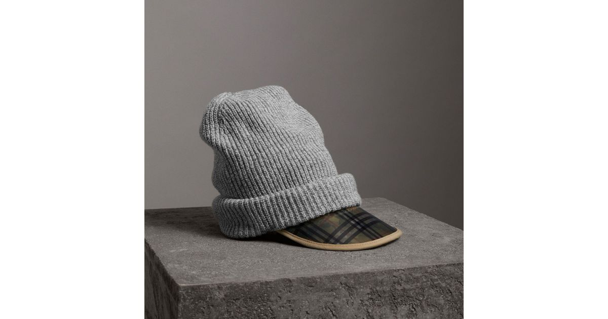 Lyst - Burberry 1983 Check Wool Cotton Peaked Beanie in Gray b017038aa2b