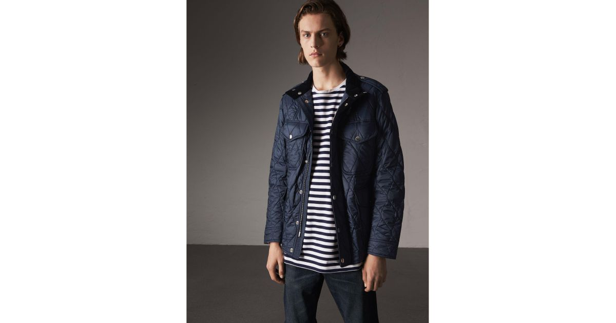 2f98a52b918 Burberry Diamond Quilted Field Jacket Navy in Blue for Men - Lyst