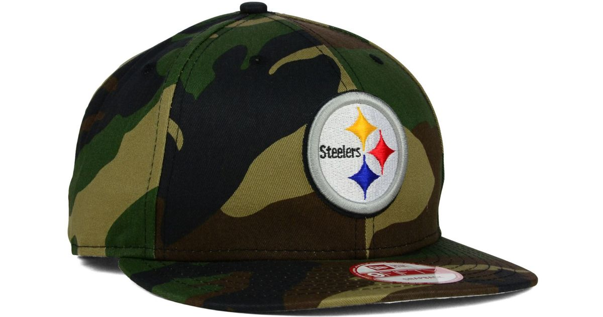 e5e229e515b Lyst - Ktz Pittsburgh Steelers Woodland Camo Team Color 9Fifty Snapback Cap  in Green for Men