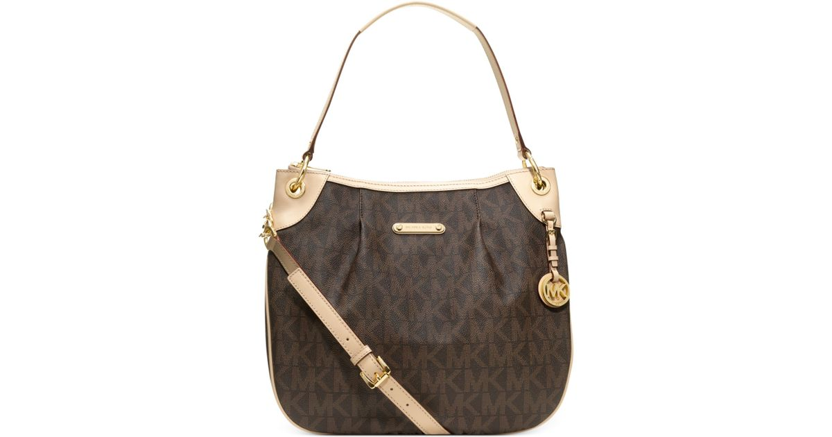 Lyst Michael Kors Jet Set Item Large Signature Shoulder Bag In Brown