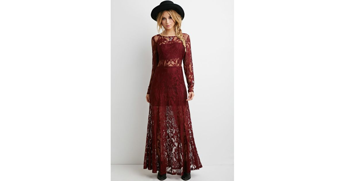 26b67179cae Forever 21 Floral Lace Maxi Dress in Purple - Lyst
