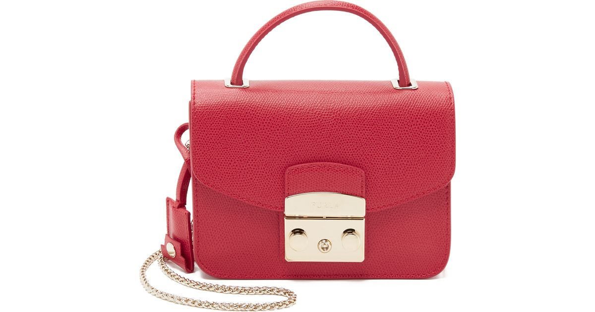 f52765f1d73da Lyst - Furla Metropolis Top Handle Mini Cross Body Bag - Ruby in Red