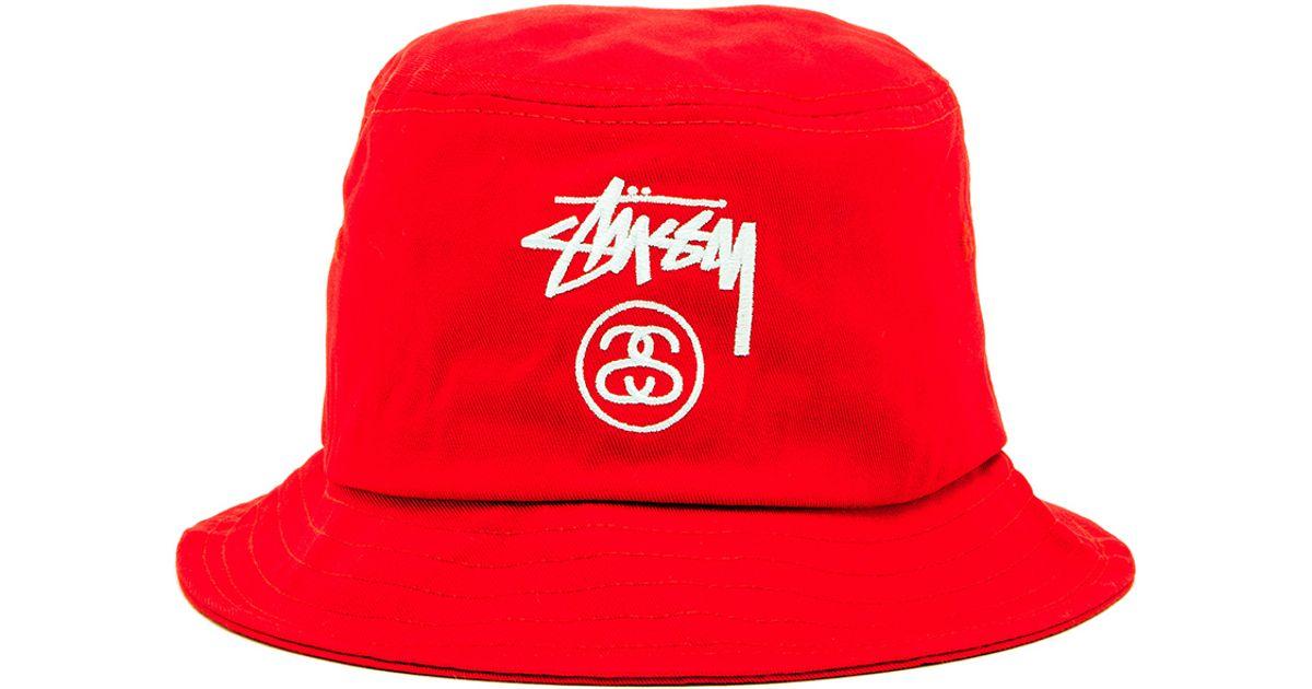 cddda2b30e73a7 Stussy Stock Lock Su15 Bucket Hat in Red for Men - Lyst