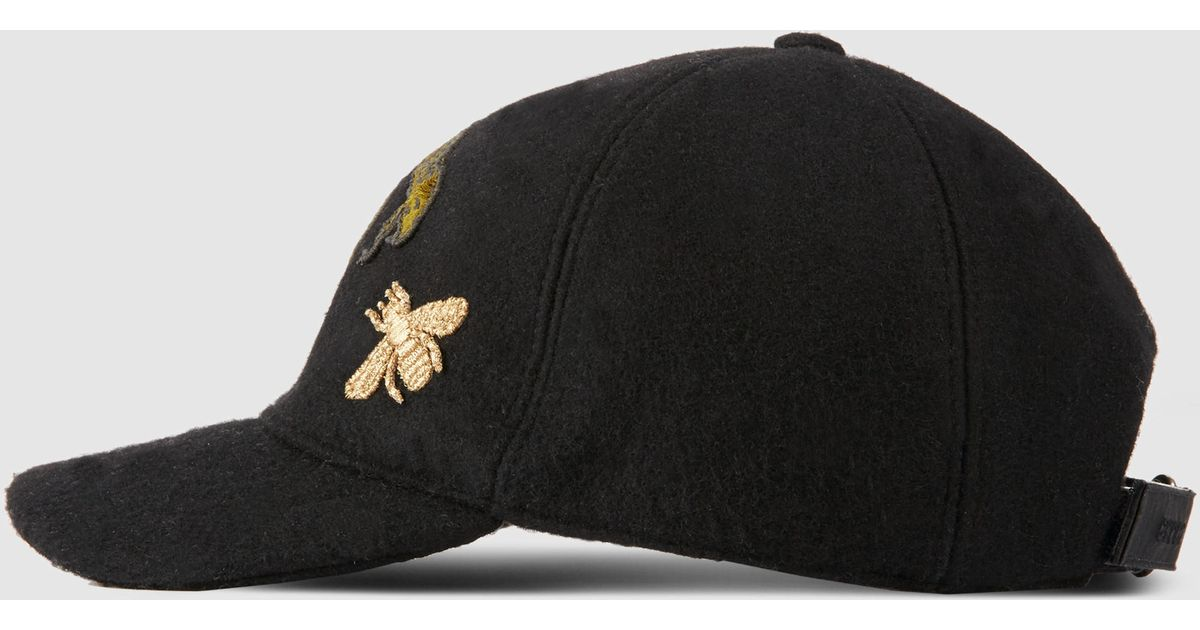 Gucci Felt Hat With Snake And Bee in Black for Men - Lyst 3646f167337