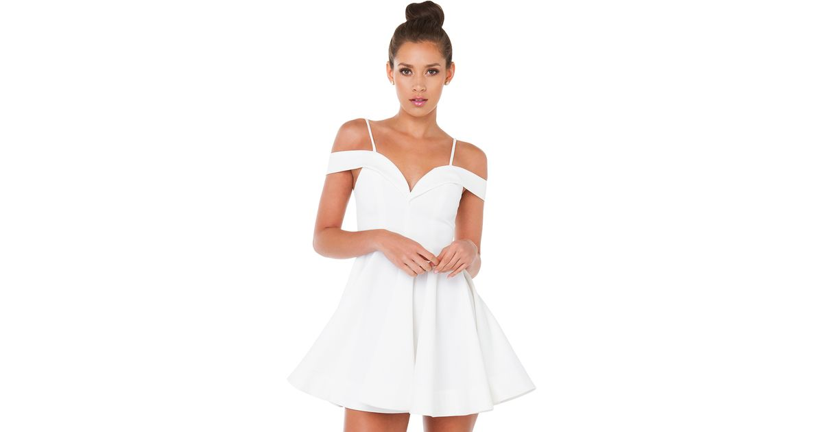 69f3c69e7621 Lyst - AKIRA Venus Off Shoulder White Mini Skater Dress in White