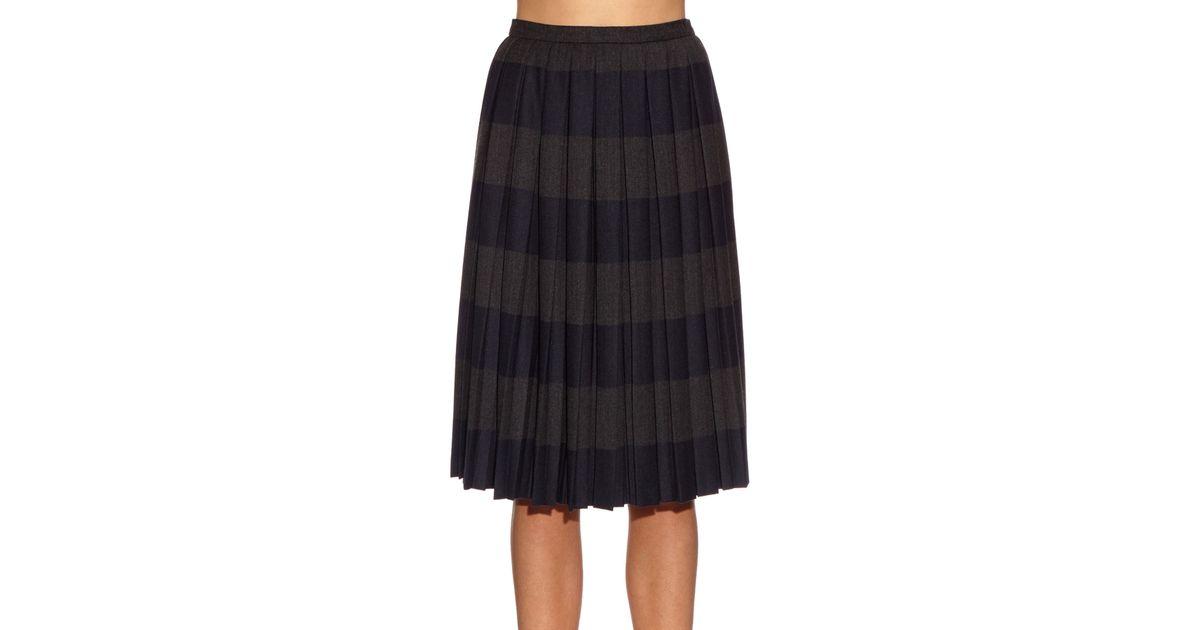 marco de vincenzo pleated stripe midi skirt in blue lyst