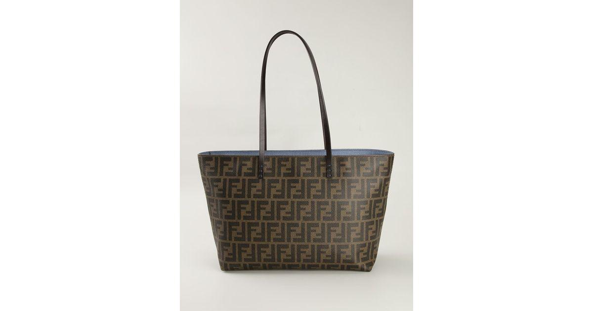 d96eefb67f Lyst - Fendi FF Logo Roll Leather Tote Bag in Brown