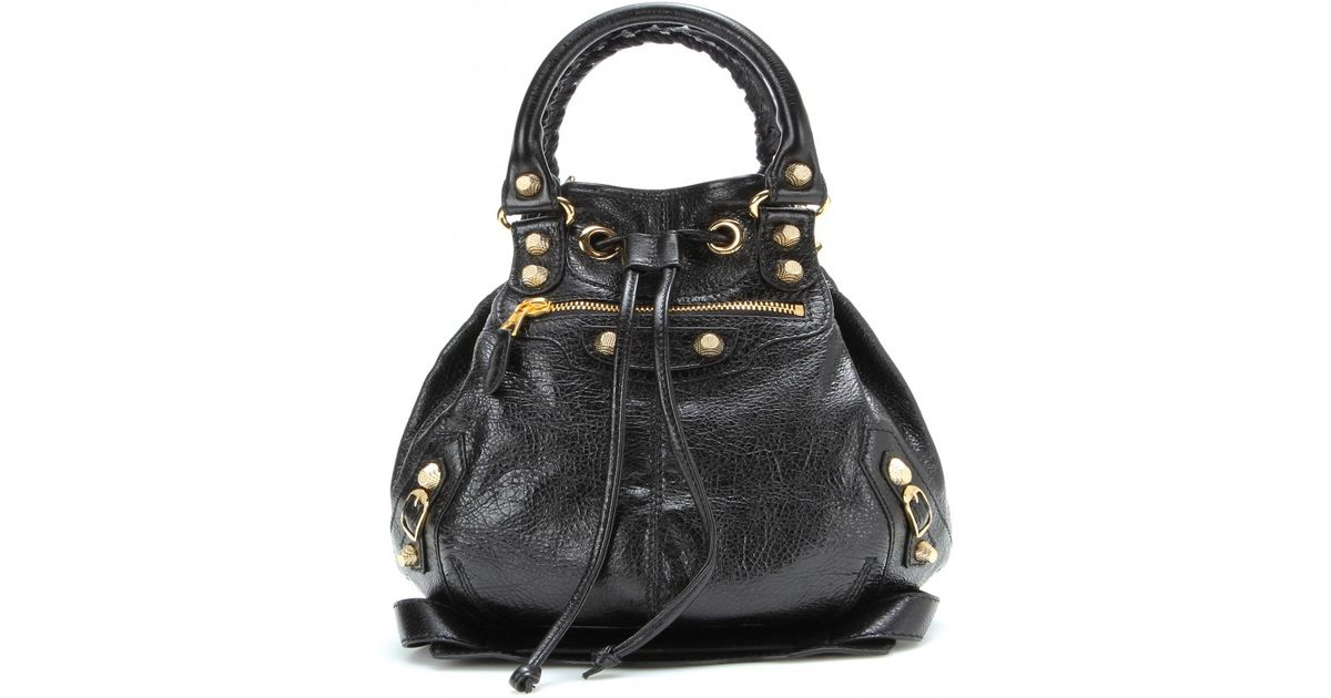 a2431f4850 Balenciaga Giant Mini Pompon Leather Shoulder Bag in Black - Lyst