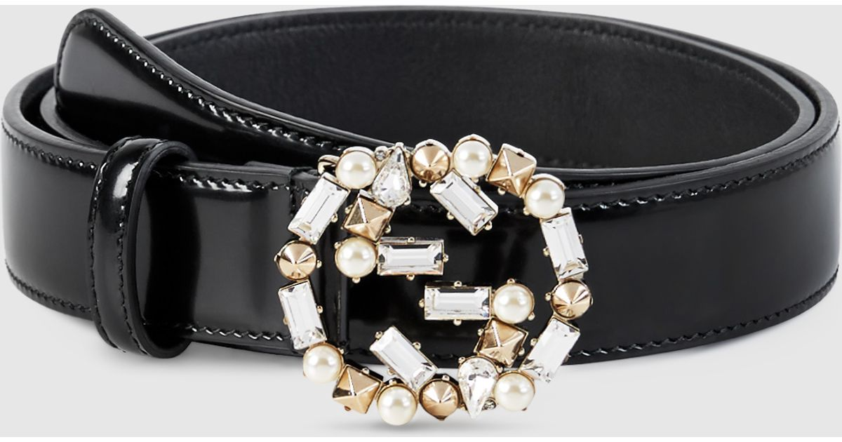 1638ec5ec91 Lyst - Gucci Leather Belt With Pearl And Crystal Interlocking G Buckle in  White