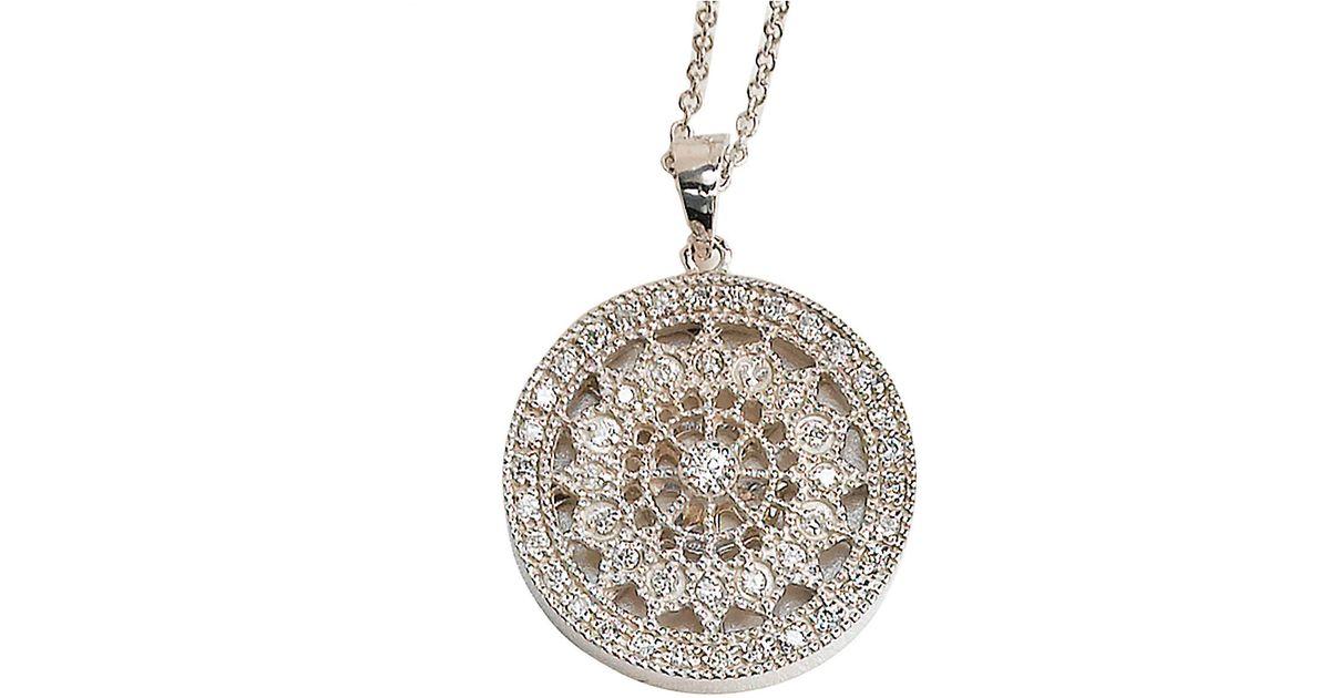 effy pave classica 14k white gold medallion