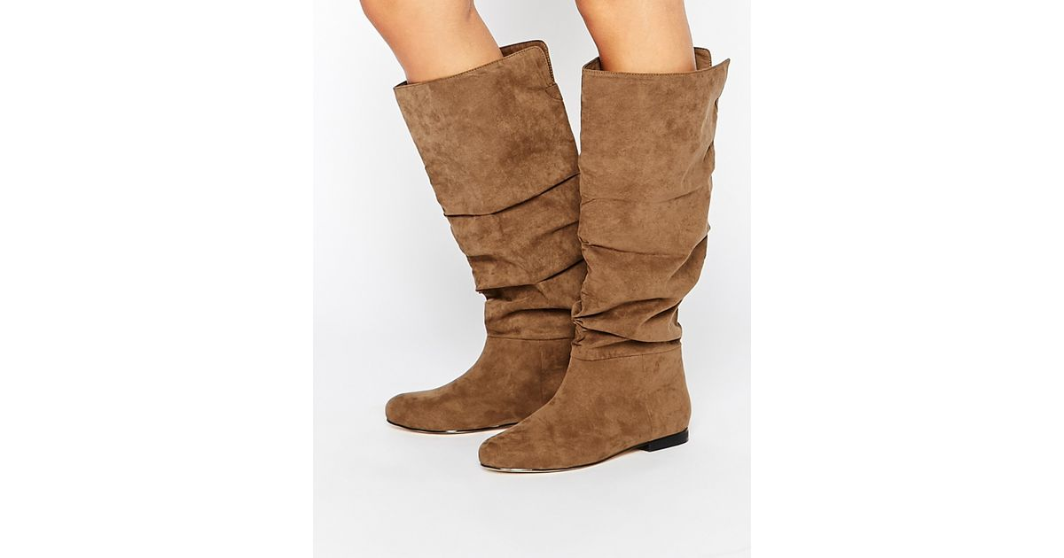 asos collaborate knee high flat slouch boots in brown lyst