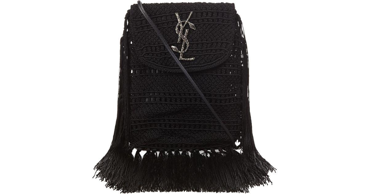 yves st. laurent bags - anita small matelasse crossbody bag, black