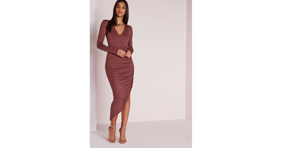 1875b5e08eb3 Lyst - Missguided Ruched Side Midi Dress Raspberry in Red