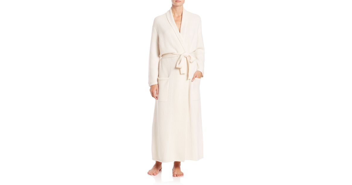 Saks fifth avenue collection cashmere robe in white snow for Saks 5th avenue robes de mariage