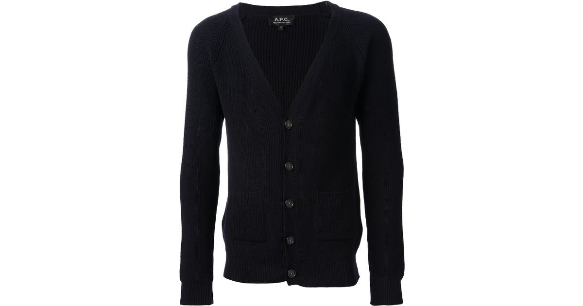 960c29582 Lyst - A.P.C. Raglan Cardigan in Blue for Men