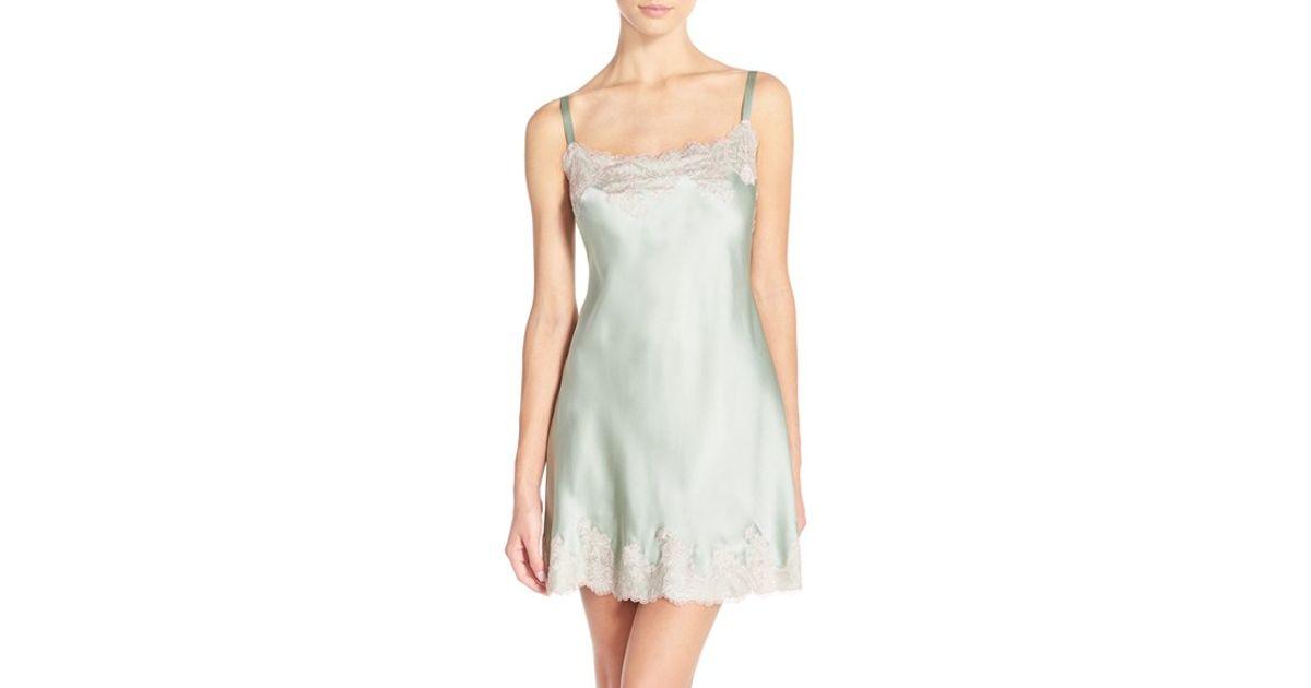f471550034 Josie Natori - Pink  lolita  Lace Trim Silk Chemise - Lyst