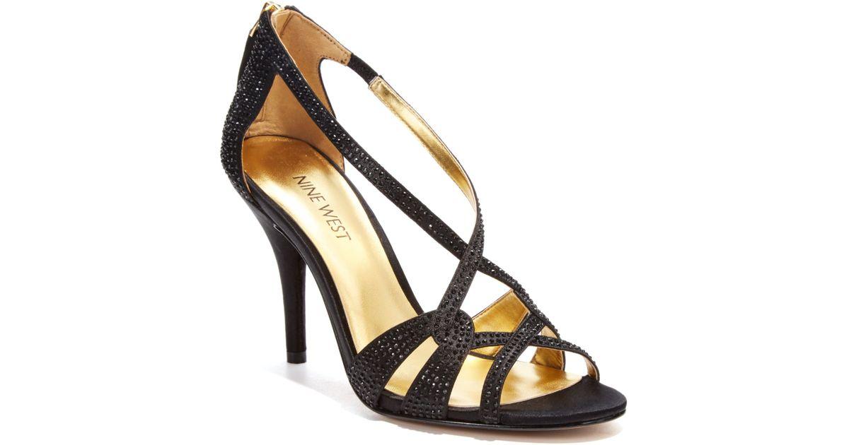 nine west asvelia mid heel evening sandals in black lyst