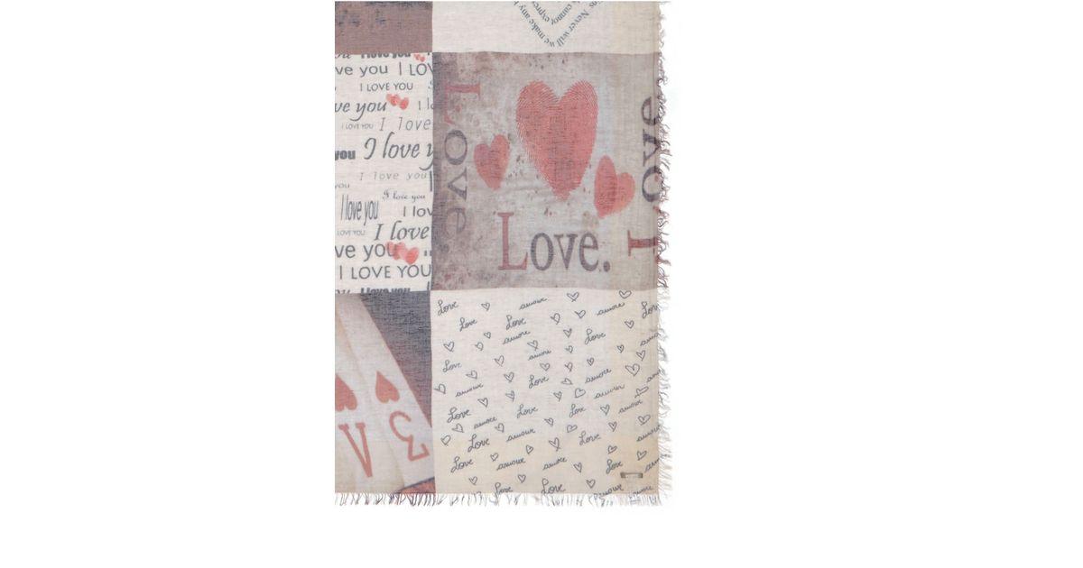 faliero sarti passion love letter print modal linen silk scarf lyst