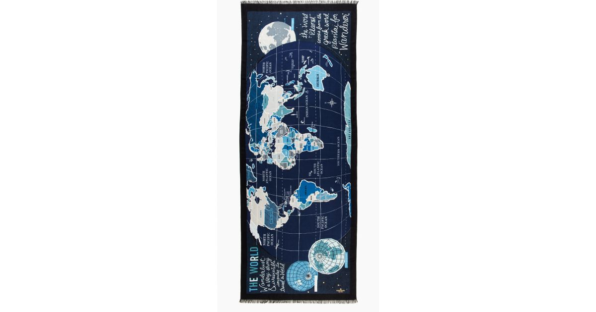 Lyst kate spade new york world map scarf in blue sciox Image collections