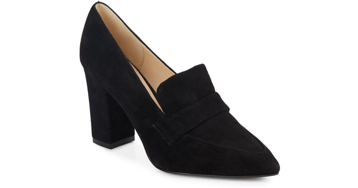 533be1a4654 Lyst - Nine West Suede Penny-loafer Pumps in Black