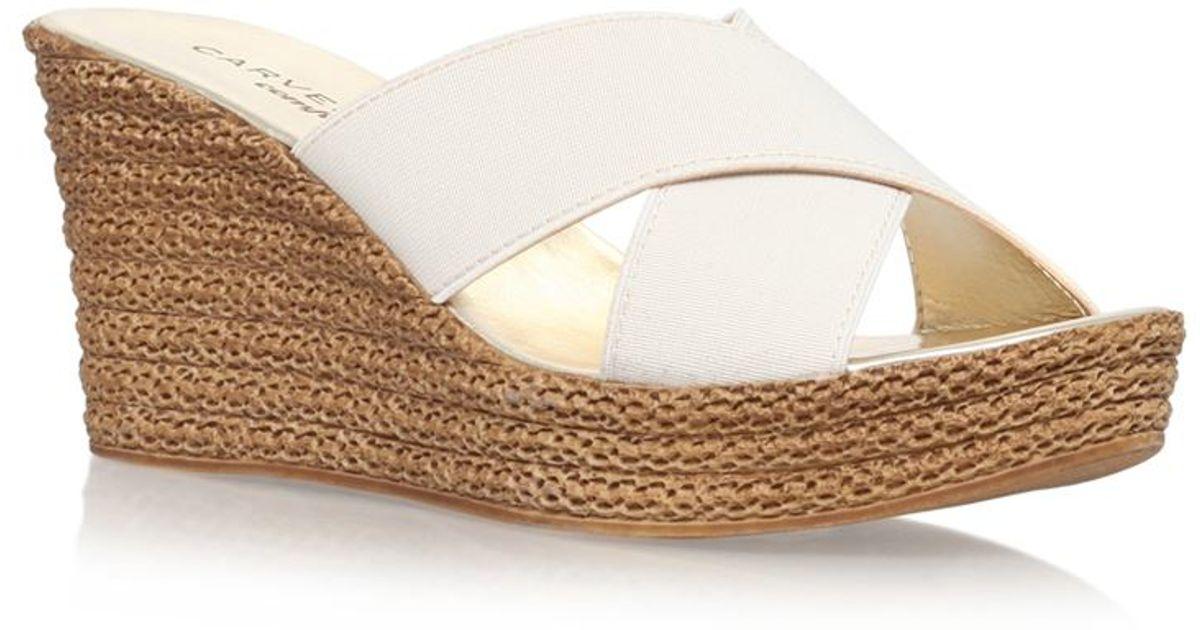 78d9a7f5c98 Carvela Kurt Geiger Sabrina Mid-heel Wedge Sandal in White - Lyst