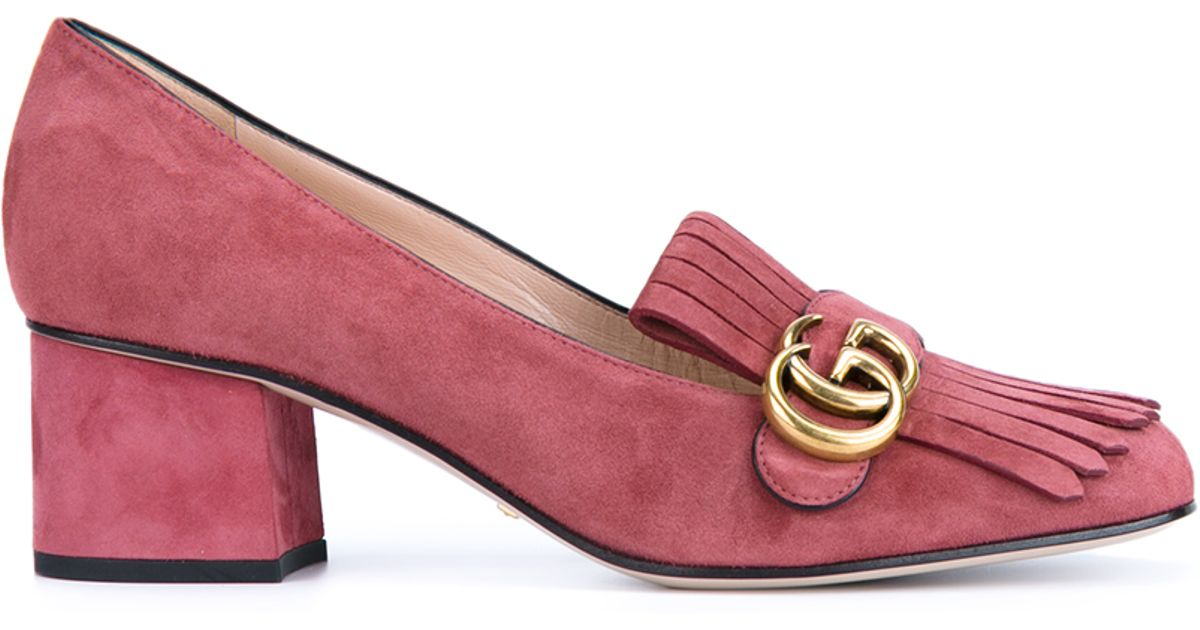 Lyst - Gucci Suede Mid-heel Pumps in Pink