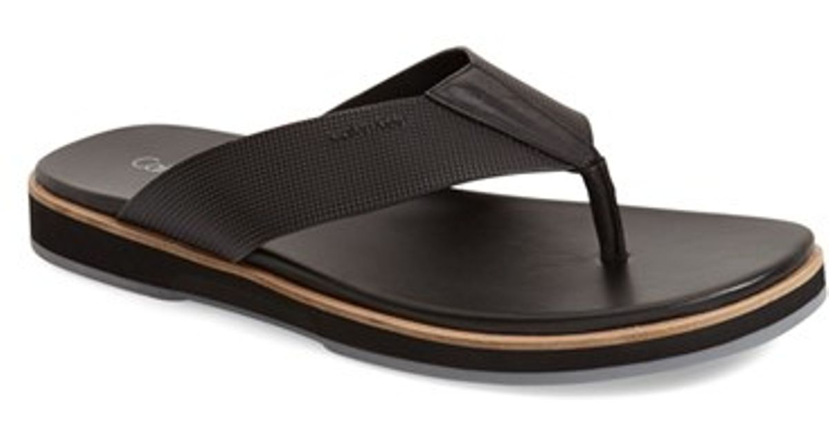 Calvin Klein Deano Embossed Flip Flop In Black For Men
