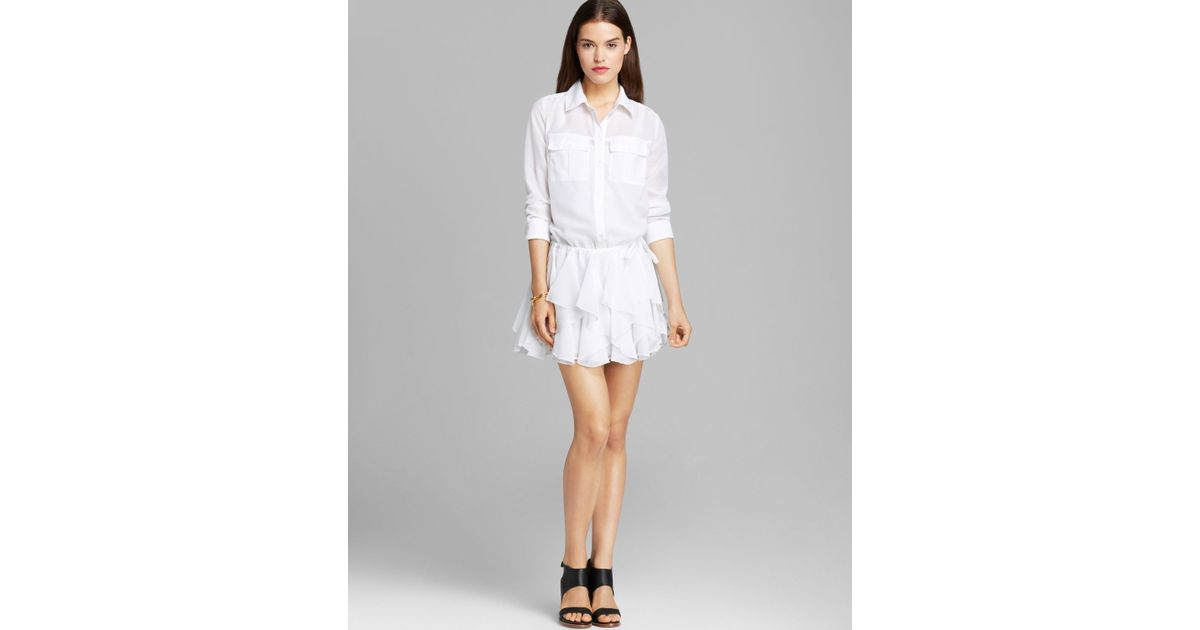 dc2034c42b Guess Shirt Dress Ruffle in White - Lyst