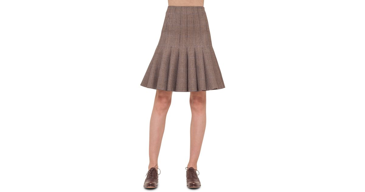 akris check print pleated tulip skirt in lyst