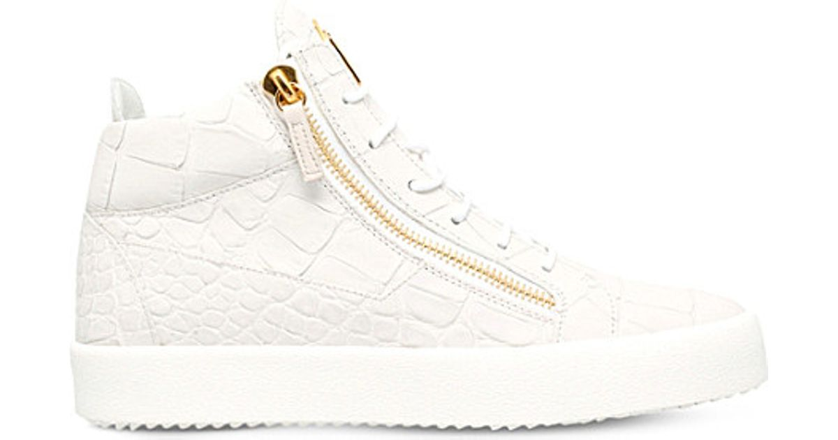 White Croc-Embossed London Mid-Top Sneakers Giuseppe Zanotti IN4ee2hX