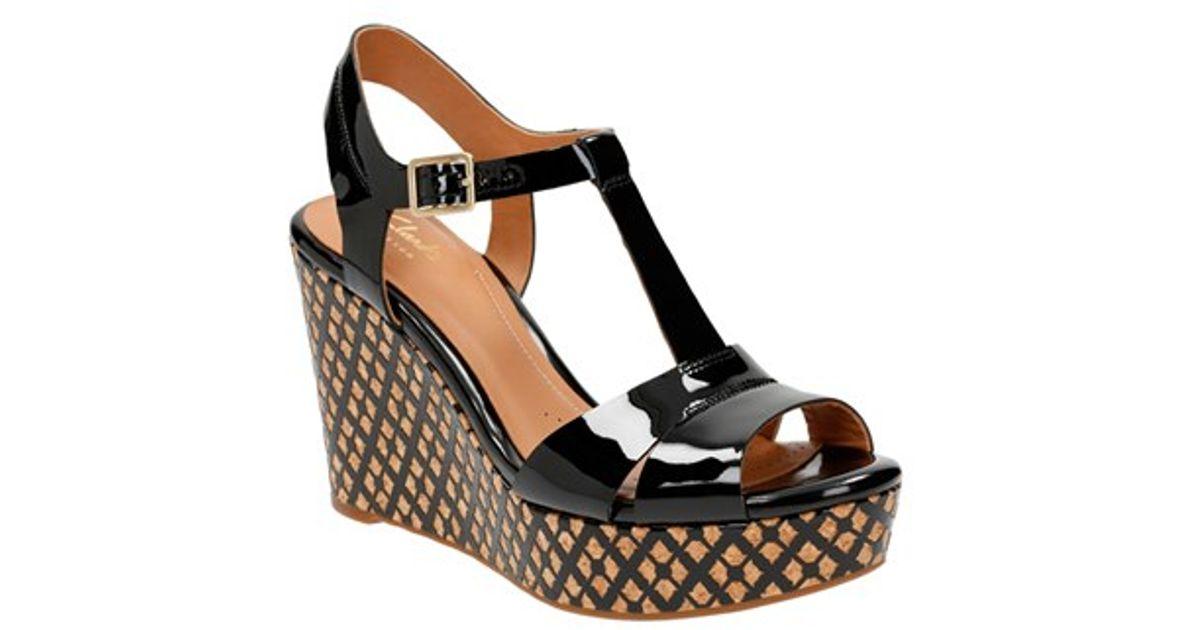 8757d7f933e Lyst - Clarks  amelia Roma  Wedge Sandal in Black