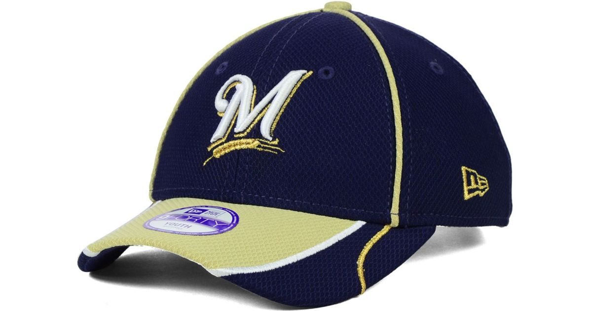 premium selection e8989 b8d7d ... discount code for lyst ktz kids milwaukee brewers junior fan wave 9forty  cap in blue 3054c