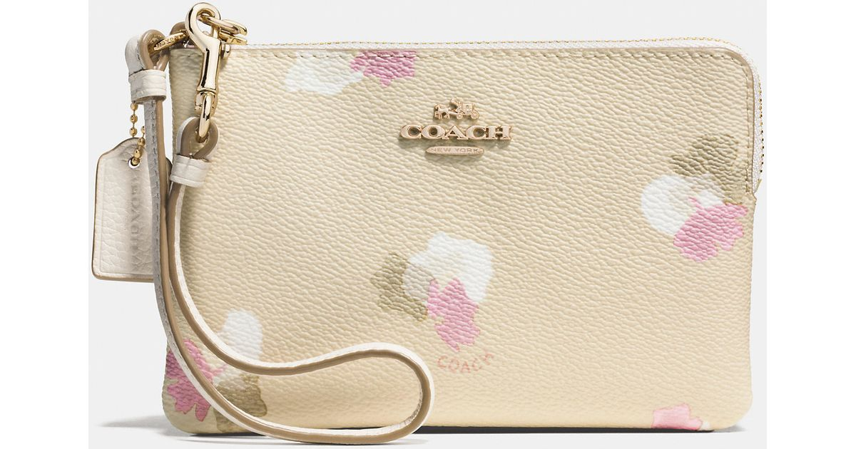87135a578 Coach Corner Zip Wristlet In Fl Print Coated Canvas Metallic. Coach Nolita  Rose Leather Shoulder Bag In Pink ...