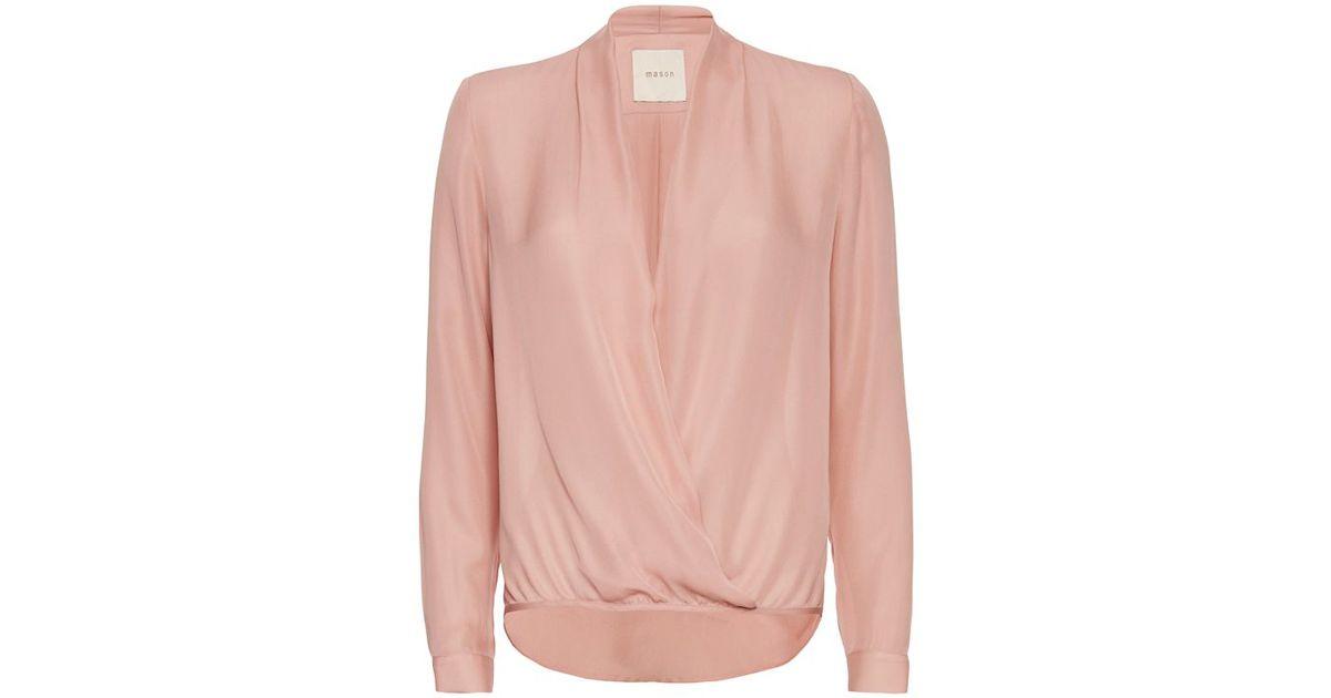 b63181e56a4275 Lyst - Michelle Mason Wrap Blouse  Blush in Natural