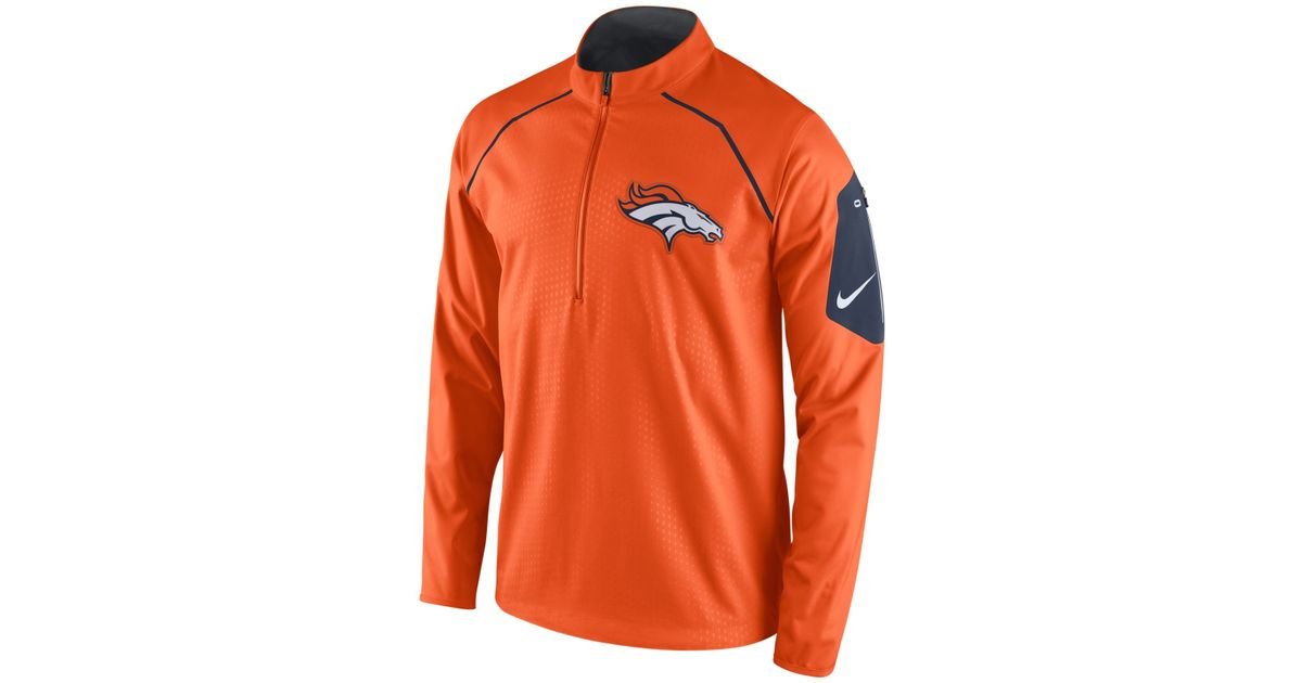 a1bc566492a56 Lyst - Nike Men s Denver Broncos Alpha Fly Rush Quarter-zip Jacket in Orange  for Men