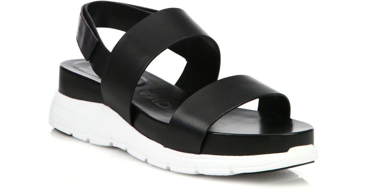 bfbb12d74ee Lyst - Cole Haan Zerogrand Leather Platform Slingback Sandals in Black