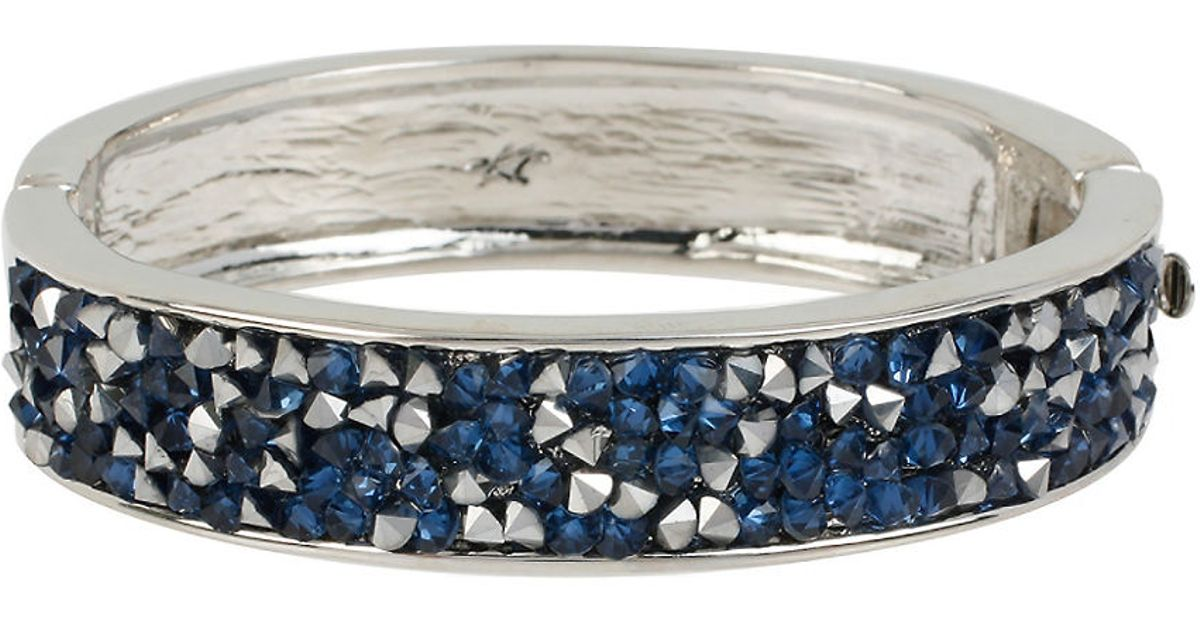 Lyst Kenneth Cole Sprinkled Stone Silver Hinged Bangle Bracelet In Blue