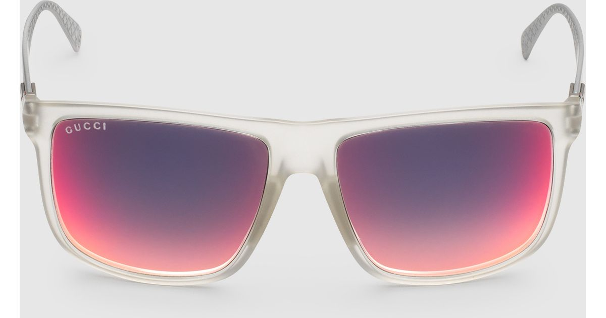 144b4a2fa43 Lyst - Gucci Square-frame Aluminum And Injected Sunglasses in Purple for Men
