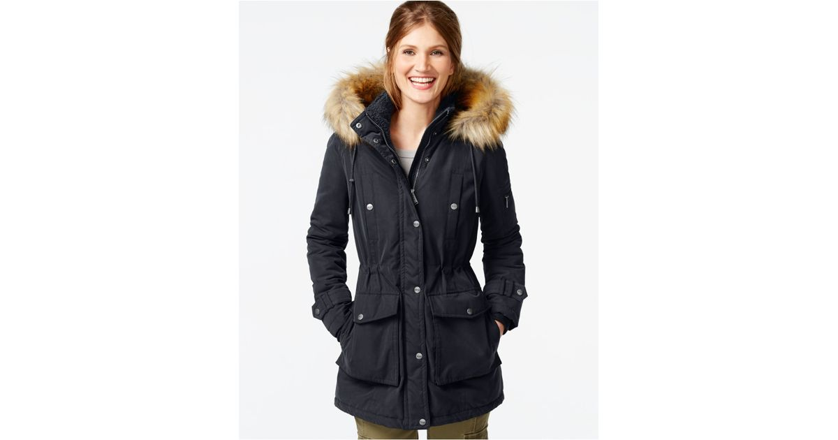 Dkny Faux-fur-trim Hooded Parka in Blue | Lyst