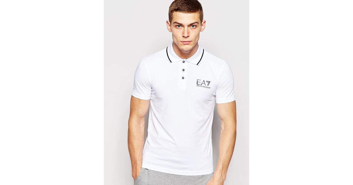 42b468e1 EA7 Emporio Armani Polo Shirt In Muscle Fit With Logo in White for Men -  Lyst