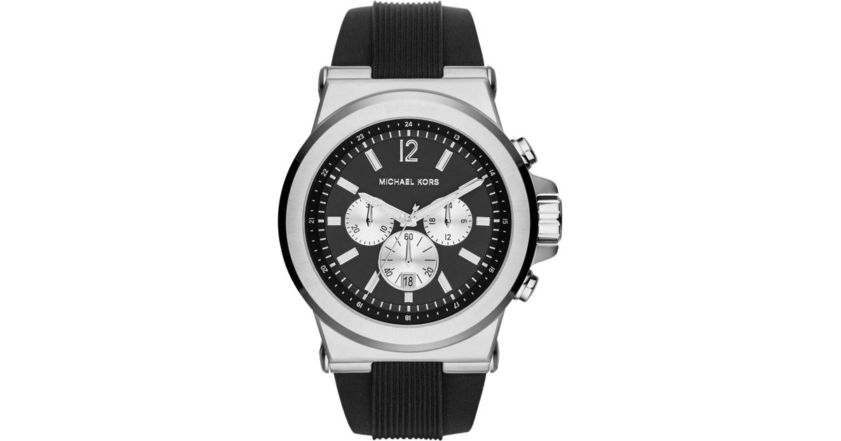 a81838244e090 Michael Kors Men S Chronograph Dylan Black Silicone Strap Watch 48Mm Mk8336  in Black for Men - Lyst