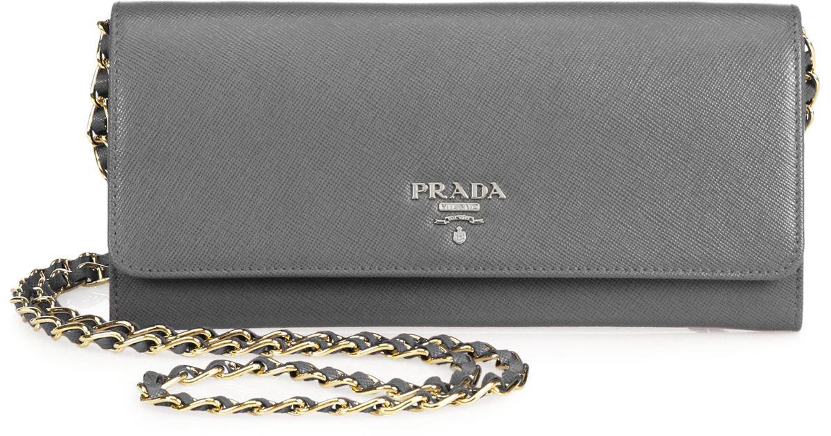 Prada Saffiano Metal Oro Chain Wallet in Gray (MARMO) | Lyst