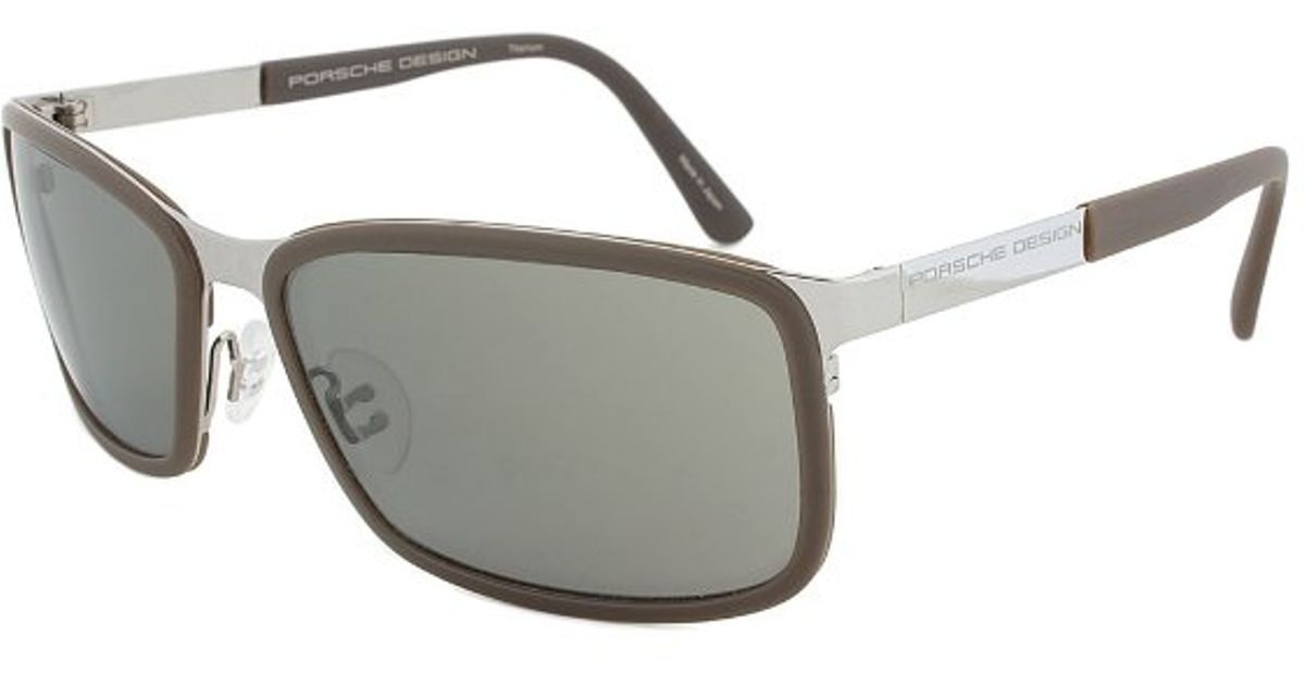 44ad54cb655 Lyst - Porsche Design Design P8552 Rectangular Sunglasses in Metallic