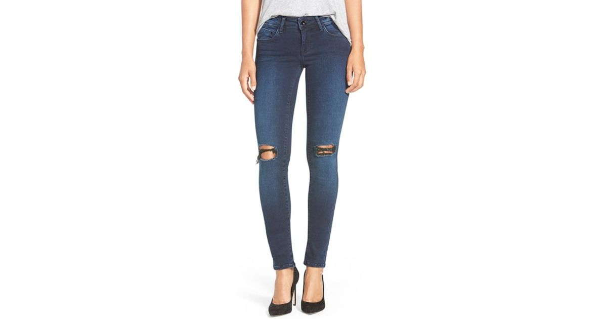 mavi jeans gold 39 serena 39 ripped stretch skinny jeans in. Black Bedroom Furniture Sets. Home Design Ideas